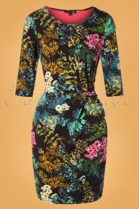 Smashed Lemon 60s Laurinda Floral Pencil Dress in Black