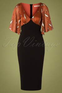 Traffic People 70s Wiggle And Smile Dress in Rust and Black