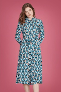 60s Wild Open Midi Dress in Ivory and Blue