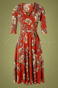 Vintage Chic for TopVintage 50s Eulalia Floral Swing Dress in Burnt Orange