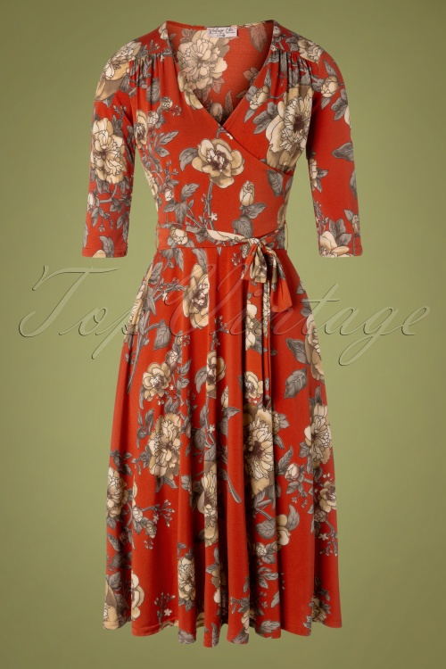 Vintage Chic 31542 Red Floral Swing Dress 20190906 001W