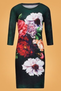 Florie Floral Pencil Dress Années 60 en Vert
