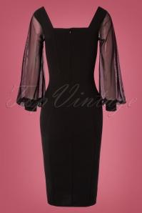 Vintage Chic 31167 Black Mesh Sleeves Pencil Dress 20190906 007W