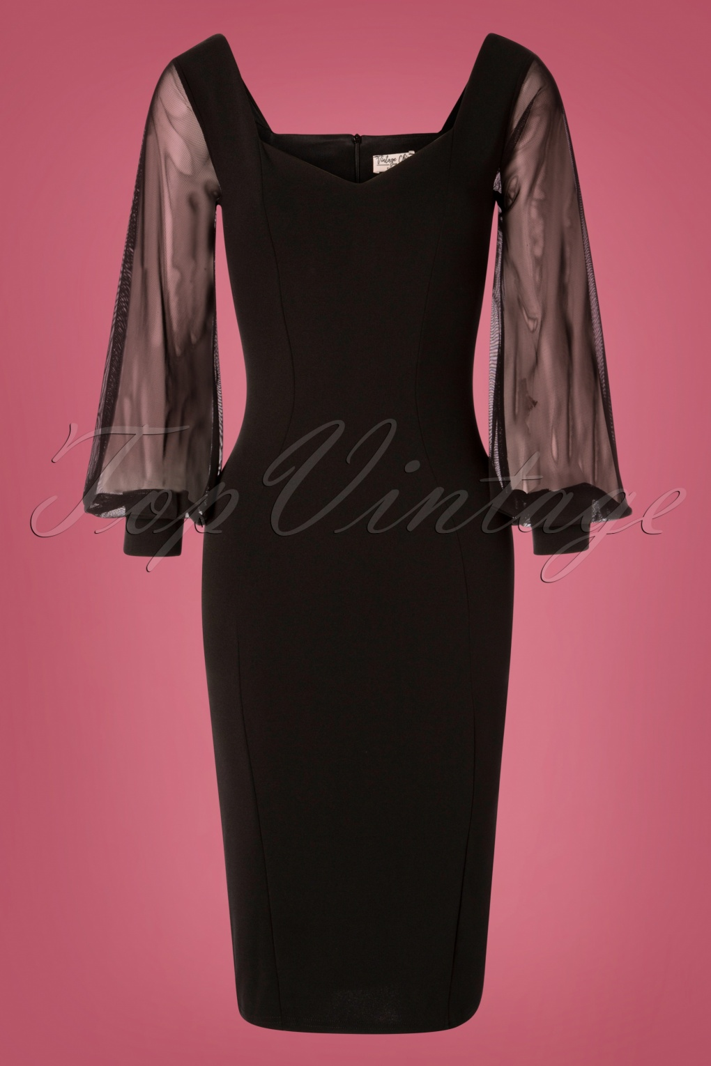 Rockabilly Dresses | Rockabilly Clothing | Viva Las Vegas 50s Felicity Pencil Dress in Black £52.75 AT vintagedancer.com
