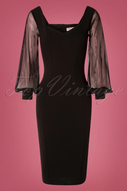 Vintage Chic 31167 Black Mesh Sleeves Pencil Dress 20190906 002W