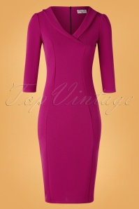 Vintage Chic for TopVintage 50s Hazel Long Sleeve Pencil Dress in Amaranth