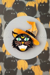 Erstwilder 32100 Brooch Witch Cat Halloween 09102019 000002W