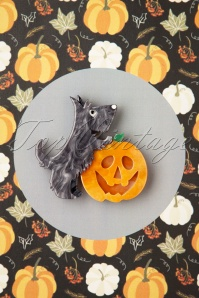 Erstwilder TopVintage exclusive ~ 60s Patch The Pumpkin Pup Brooch