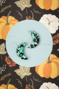 Erstwilder TopVintage Exclusive ~ 60s Crescent Moon Glitter Stud Earrings in Teal