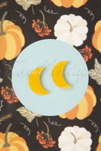 Erstwilder TopVintage Exclusive ~ 60s Crescent Moon Marble Stud Earrings in Yellow