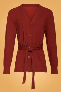 Smashed Lemon 70s Cory Cardigan in Rust Red