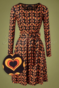 Smashed Lemon 70s Hetty Hearts Dress in Black and Orange