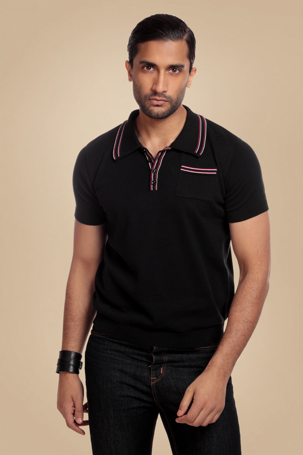 1960s – 70s Mens Shirts- Disco Shirts, Hippie Shirts 50s Pablo Knitted Polo Shirt in Black £40.45 AT vintagedancer.com