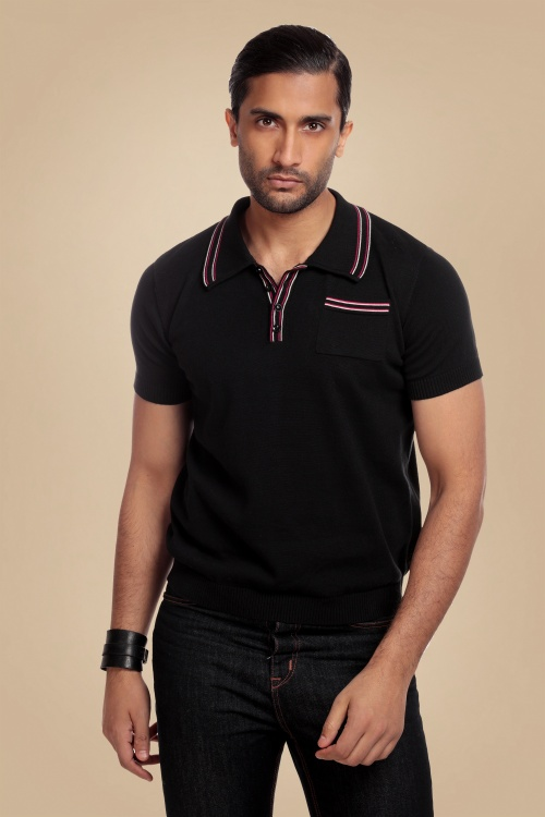 Collectif 31553 Pablo Plain Knitted Polo Shirt in Black 20190903 020LW