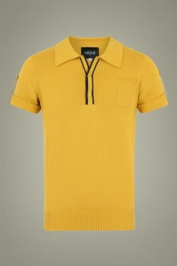 Collectif 31561 Jorge Plain Knitted Polo Shirt in Yellow 20190903 021LW