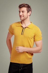 Collectif Clothing 50s Jorge Plain Knitted Polo Shirt in Yellow