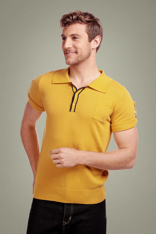 1950s Mens Shirts | Retro Bowling Shirts, Vintage Hawaiian Shirts 50s Jorge Plain Knitted Polo Shirt in Yellow £41.42 AT vintagedancer.com