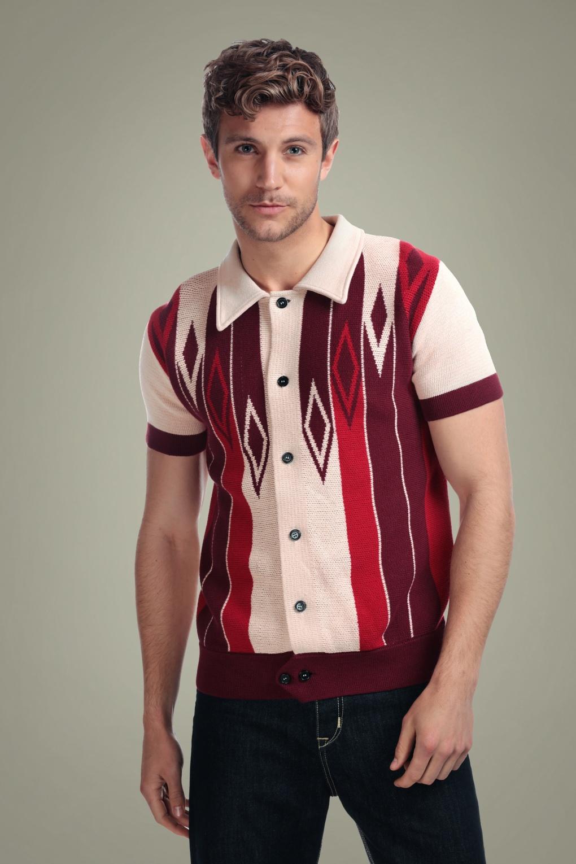1950s Mens Shirts | Retro Bowling Shirts, Vintage Hawaiian Shirts 50s Luca Knitted Diamond Cardigan in Red £47.60 AT vintagedancer.com