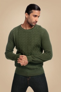 Collectif Clothing James Diamond Jumper Années 50 en Vert