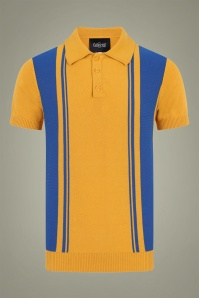 Collectif 31557 Pablo Striped Knitted Polo Shirt in Yellow and Blue 20190903 021LW