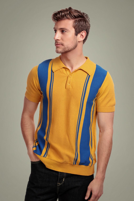 1950s Mens Shirts | Retro Bowling Shirts, Vintage Hawaiian Shirts 50s Pablo Striped Knitted Polo Shirt in Yellow £41.42 AT vintagedancer.com