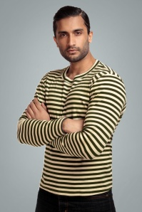 Jim Striped Long Sleeved T-Shirt Années 50 en Vert