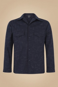 Collectif 31594 Adam Crosshatch Shirt in Navy 20190904 021LW