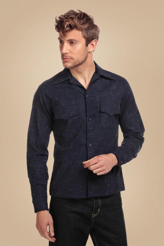 1950s Mens Shirts | Retro Bowling Shirts, Vintage Hawaiian Shirts 50s Adam Crosshatch Blouse in Navy £63.48 AT vintagedancer.com