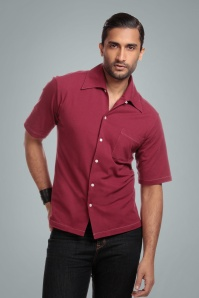 Collectif 31582 Harry Havan Short Sleeved Shirt in Burgundy 20190903 023LW