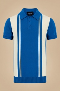 50s Pablo Striped Knitted Polo Shirt in Blue