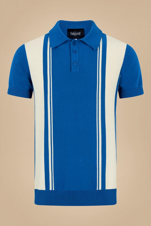 1950s Mens Shirts | Retro Bowling Shirts, Vintage Hawaiian Shirts 50s Pablo Striped Knitted Polo Shirt in Blue £41.42 AT vintagedancer.com
