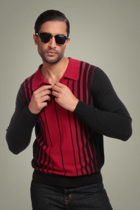 50s Jo Stripe Jumper in Black and Red