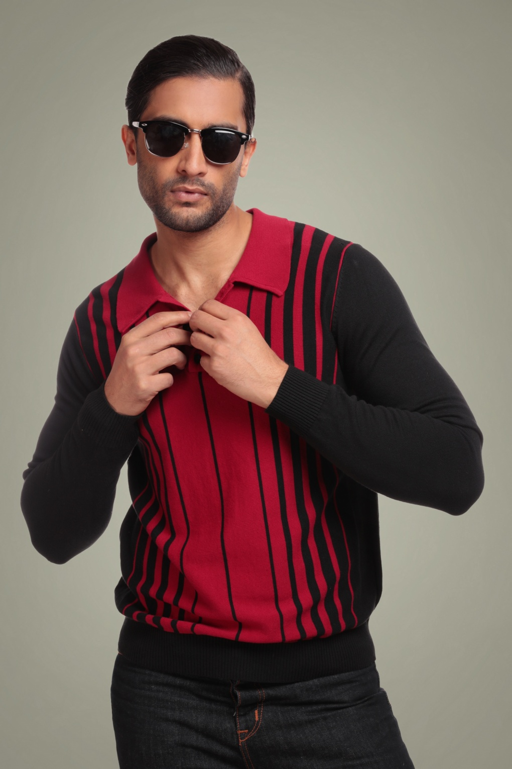 Retro Clothing for Men | Vintage Men's Fashion 50s Jo Stripe Jumper in Black and Red £46.41 AT vintagedancer.com