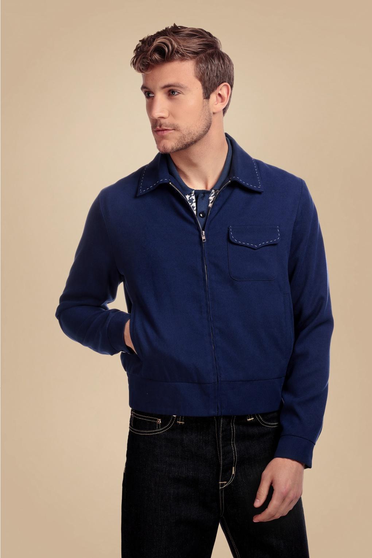 1950s Mens Shirts | Retro Bowling Shirts, Vintage Hawaiian Shirts 50s Morgan Plain Jacket in Blue £84.66 AT vintagedancer.com