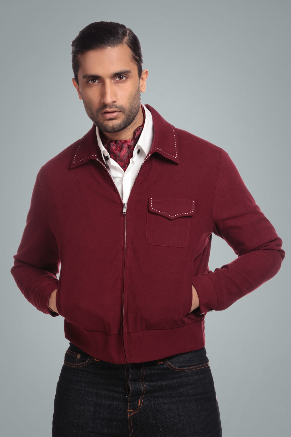 Men's Vintage Style Coats and Jackets 50s Morgan Plain Jacket in Burgundy £82.19 AT vintagedancer.com