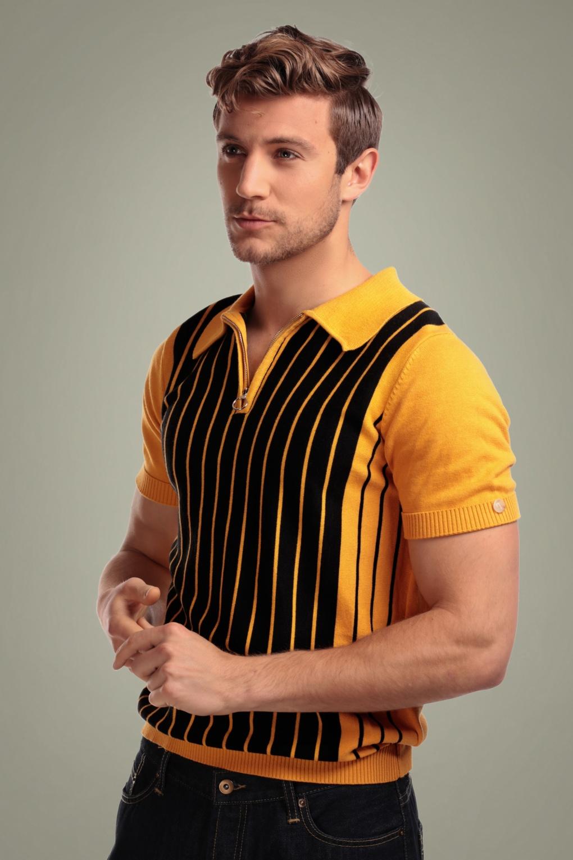 1950s Mens Shirts | Retro Bowling Shirts, Vintage Hawaiian Shirts 50s Pablo Striped Knitted Polo Shirt in Yellow and Black £41.42 AT vintagedancer.com