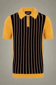 Collectif 31816 Pablo Striped Knitted Polo Shirt in Yellow and Black 20190904 020LW
