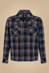 Collectif 31584 Tiago Scot Check Shirt in Blue 20190903 020LW