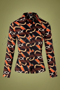 70s Brita Chain Blouse in Black and Orange