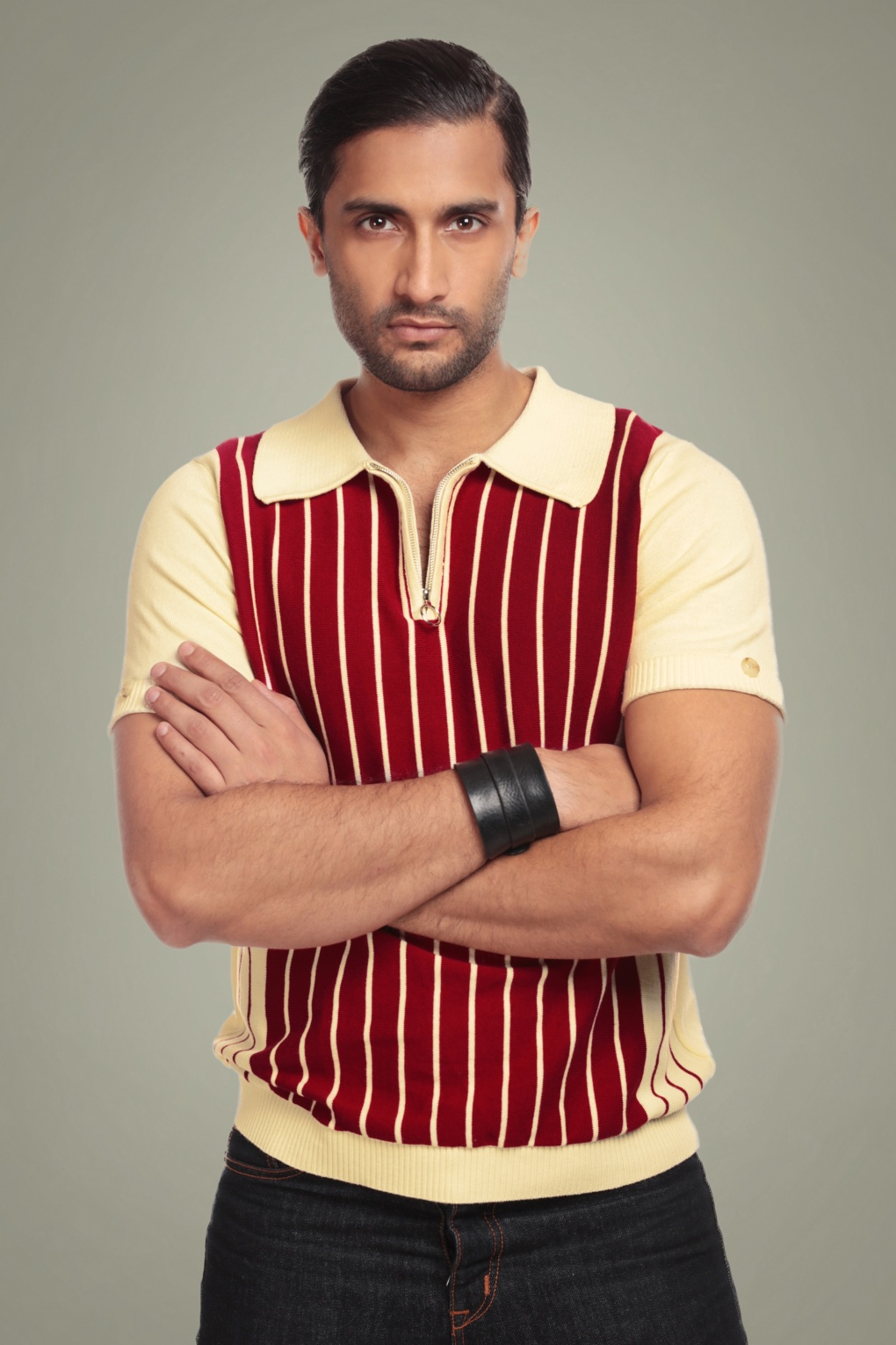 1960s -1970s Men's Clothing 50s Pablo Striped Knitted Polo Shirt in Cream and Red £41.85 AT vintagedancer.com