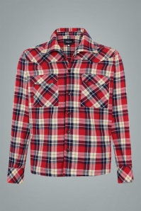Collectif 31585 Tiago Mountain Check Shirt in Red 20190903 021LW
