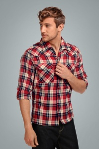 Collectif 31585 Tiago Mountain Check Shirt in Red 20190903 020LW