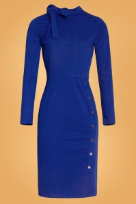 Smashed Lemon 60s Clara Pencil Dress in Cobalt