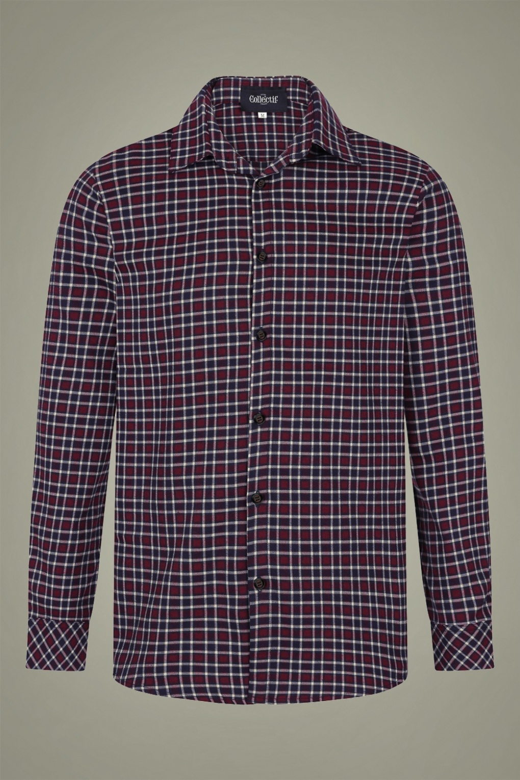 1940s Style Mens Shirts, Sweaters, Vests 40s Hunter Check Blouse in Wine £52.47 AT vintagedancer.com