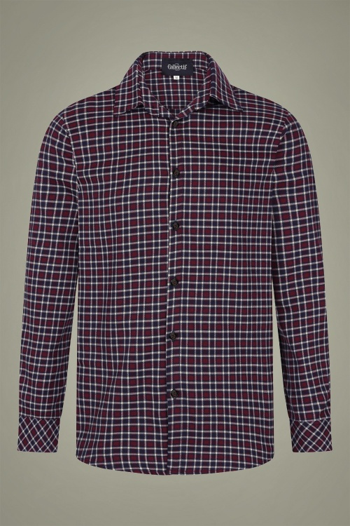 Collectif 31589 Hunter Check Shirt in Wine 20190903 020LW