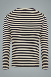 Collectif 31576 Jim Striped Long Sleeved T shirt in Navy 20190904 021LW