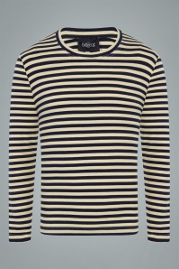 Collectif Clothing Jim Striped Long Sleeved T-Shirt Années 50 en Bleu Marine