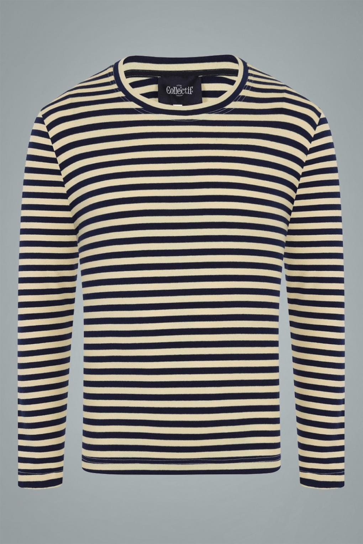 1950s Mens Shirts | Retro Bowling Shirts, Vintage Hawaiian Shirts 50s Jim Striped Long Sleeved T-Shirt in Navy £22.01 AT vintagedancer.com