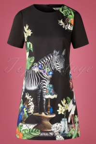 60s Zebra Tunic Dress in Black