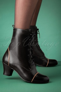 40s Fabian Leather Ankle Booties in Black